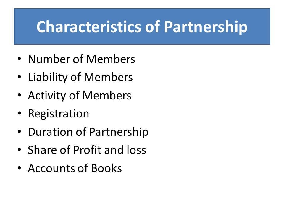 characteristics of partnership